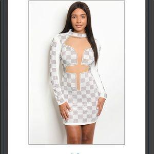 White Studded Bodycon Club Dress